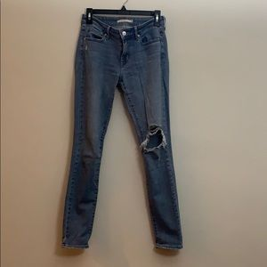 Levi's 711 Ripped Skinny Jeans blue